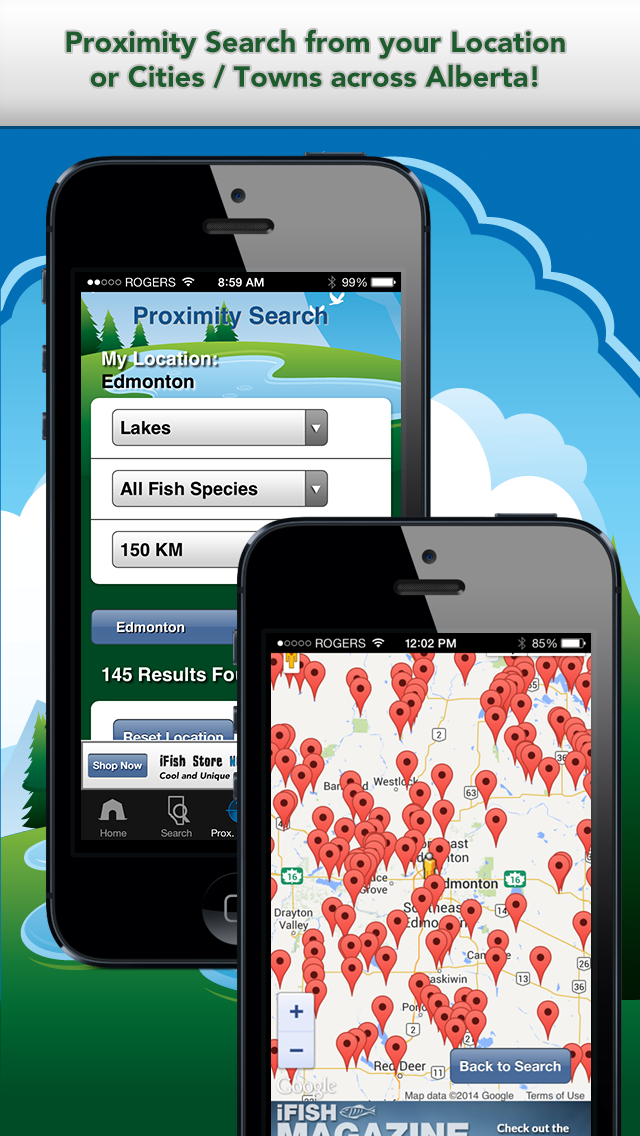 iFish Alberta App Proximity Search & Map View Screens